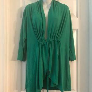 KIYONNA Woman's 0 Plus Wrap Tunic Jacket Emerald